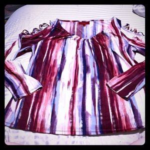 Jennifer Lopez Abstract Stripe Blouse